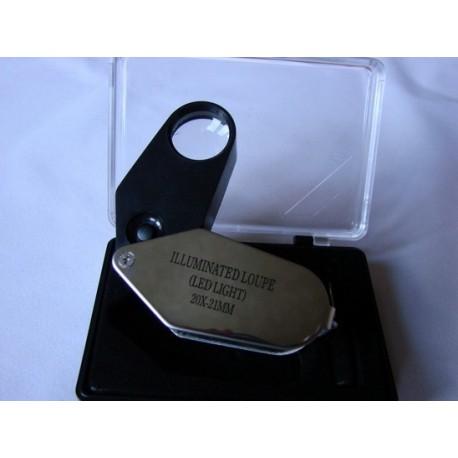 Podświetlana lupa jubilerska 20x21 z diodą LED